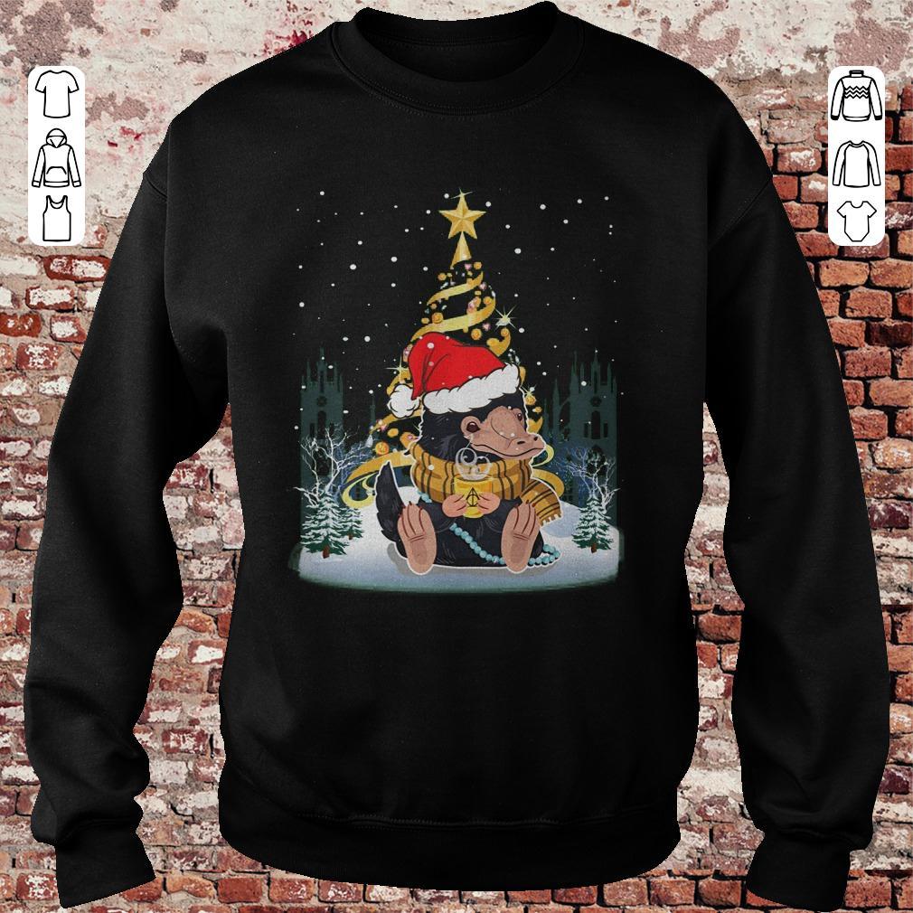 Premium Niffler with santa hat gold christmas tree shirt Sweatshirt Unisex - Premium Niffler with santa hat gold christmas tree shirt
