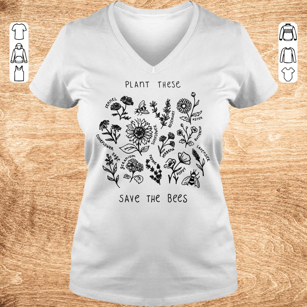 Premium Plant these save the bees shirt Ladies V Neck - Premium Plant these save the bees shirt