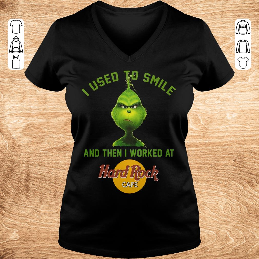 Pretty Grinch I used to smile and then i worked at Hard Rock cafe shirt Ladies V Neck - Pretty Grinch I used to smile and then i worked at Hard Rock cafe shirt