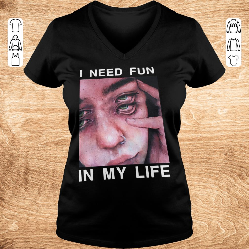 Pretty I need fun in my life The Drums Surreal Glitchy shirt Ladies V Neck - Pretty I need fun in my life The Drums Surreal Glitchy shirt