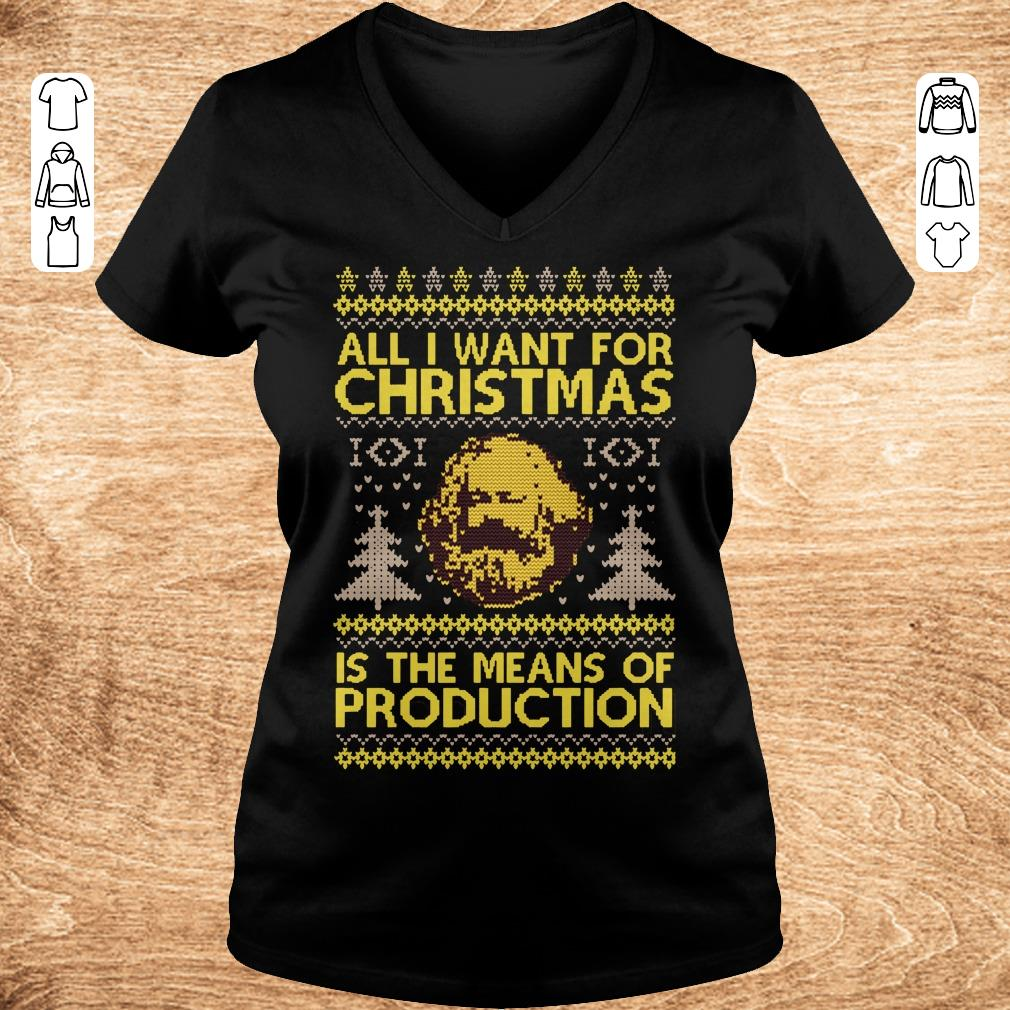 Pretty Karl Marx All i want for christmas is the means of production sweater shirt sweatshirt Ladies V Neck - Pretty  Karl Marx All i want for christmas is the means of production sweater shirt sweatshirt