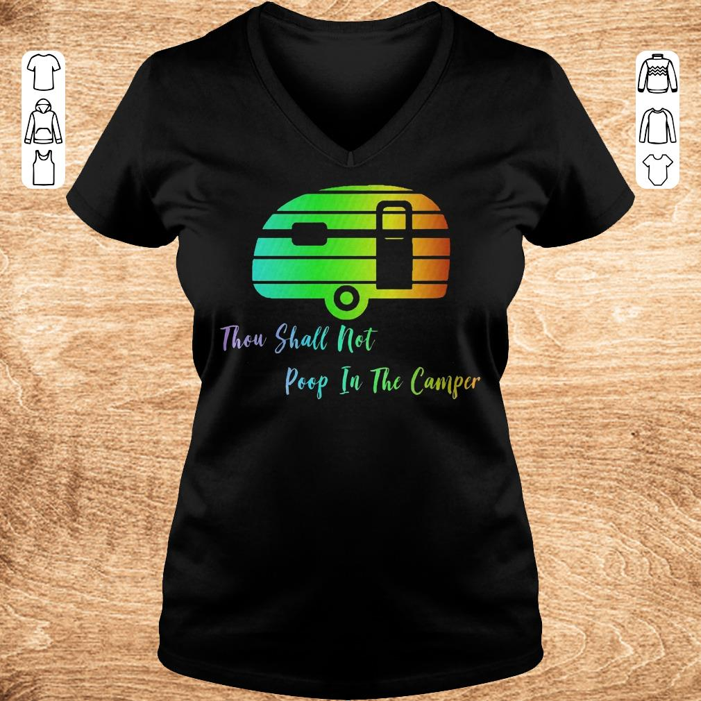 Top Thou shall not poop in the camper shirt Ladies V Neck - Top Thou shall not poop in the camper shirt