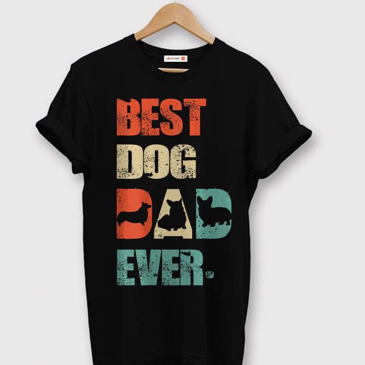 Best Corgi Dog Dad Vintage Fathers Day shirt