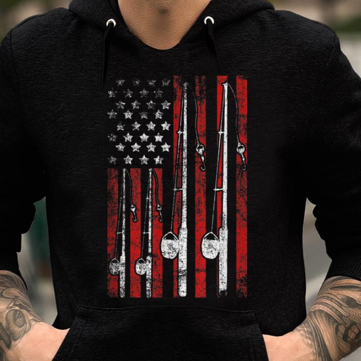American Flag Fishing Pole Fisherman shirt