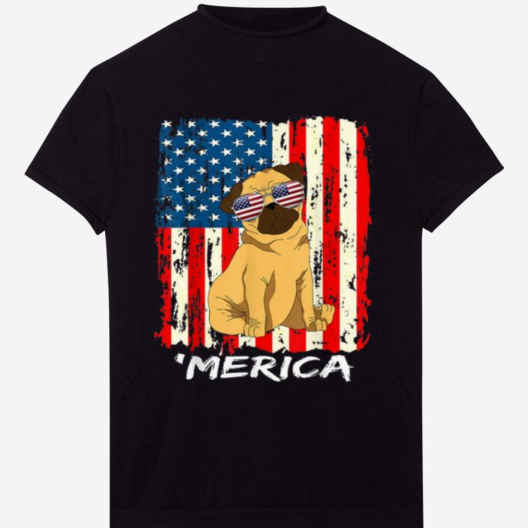 American Flag Usa Stars Stripes Pug Merica 4th July shirt