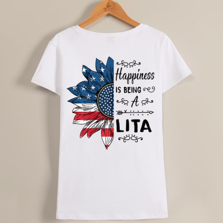 AwesomeHappiness Is Being A Lita American Flag Sunflower shirt