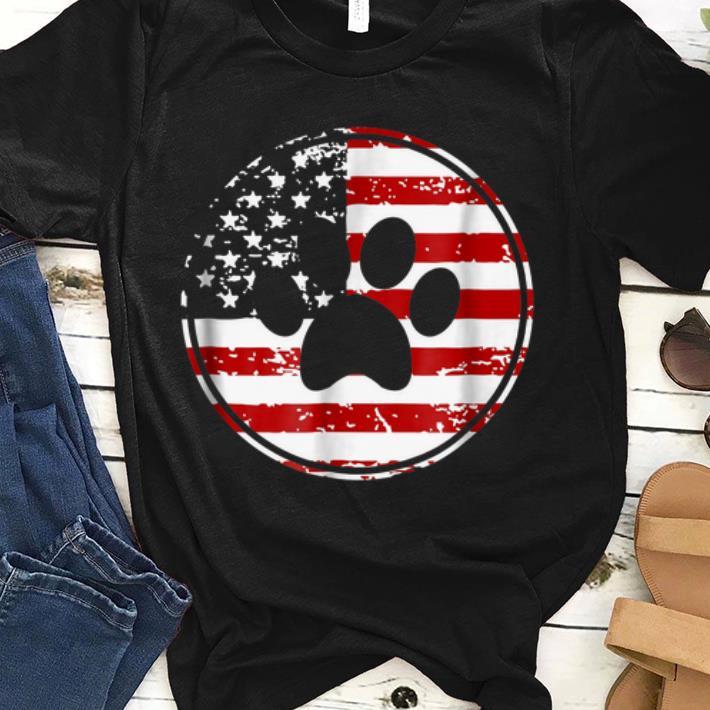 Dog Paw Print American Flag Usa Patriotic shirt