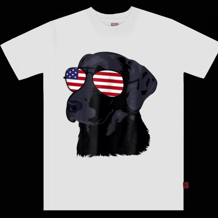 Funny Black Lab American Flag Dog 4th Of July shirt