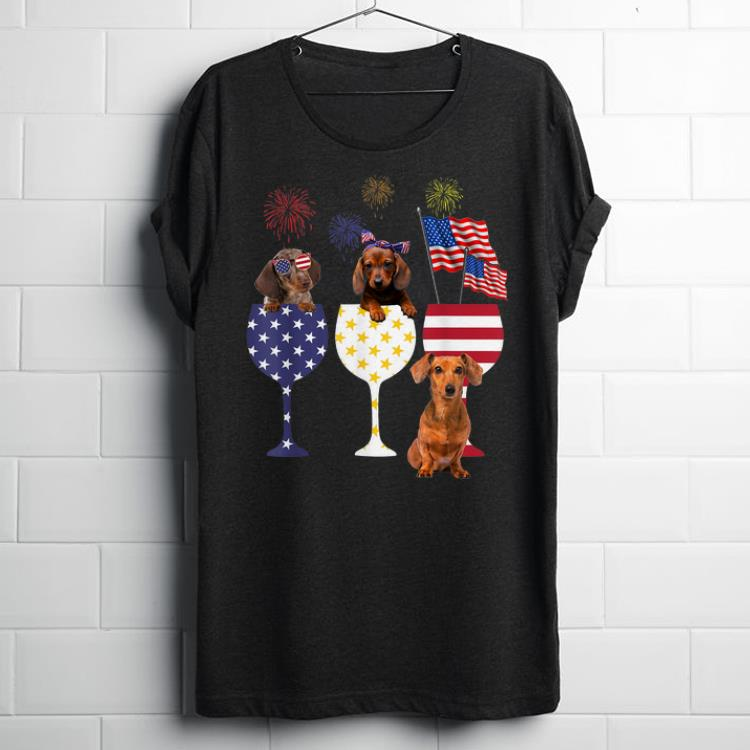 Happy Independence Day 4th Of July Wine & Dachshund shirt
