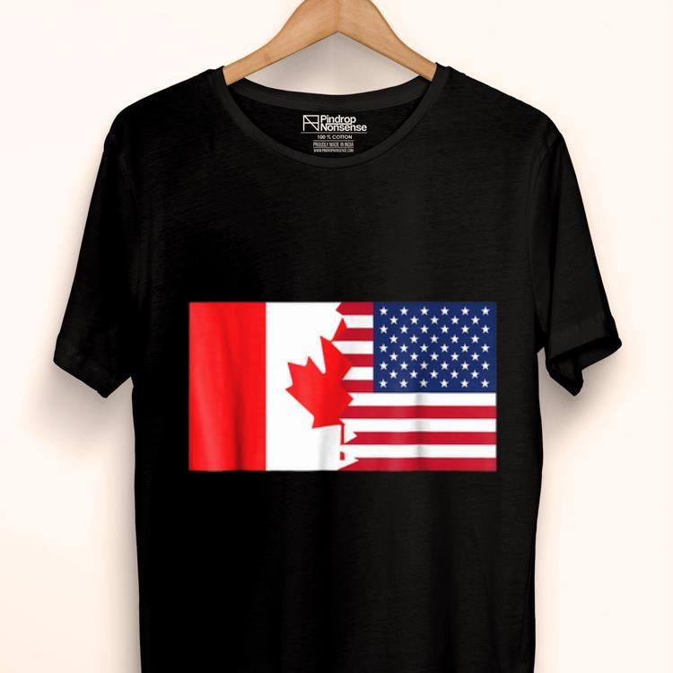 Hot Canadian American Half Canada Half America Flag shirt