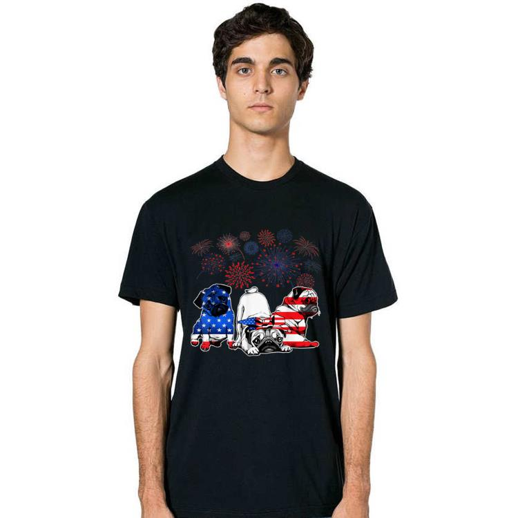 Hot Pugs 4th Of July America Flag Firework Happy Independence Day shirt