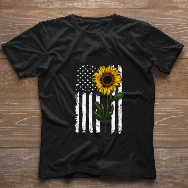 Nice American Sunflower flag shirt