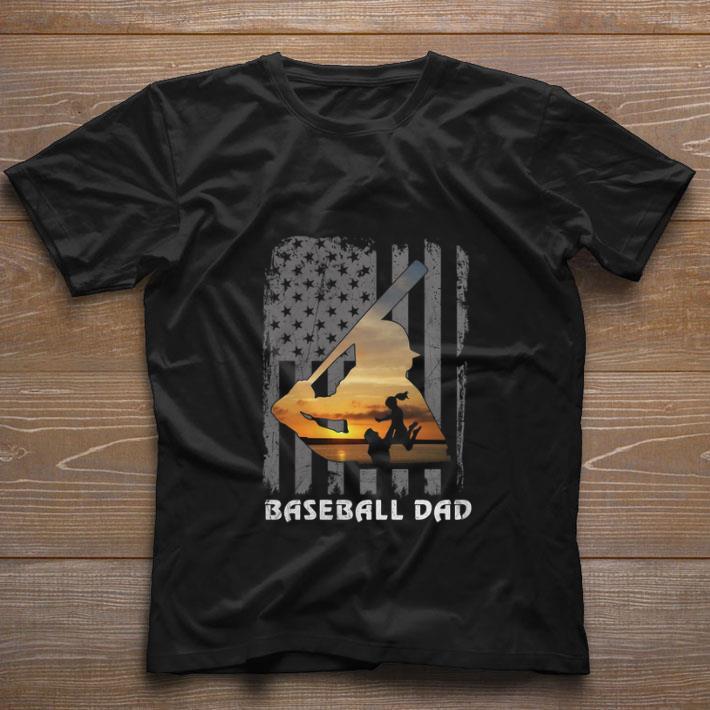 Nice Baseball Dad Daughters American flag shirt