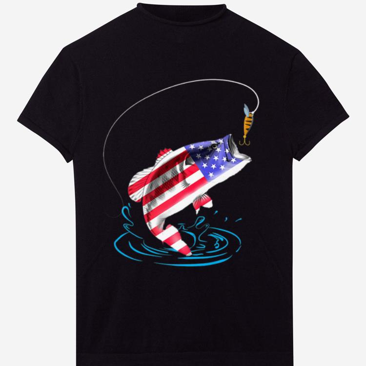 Original 4th Of July Bass Fishing American Flag Happy Independence Day shirt