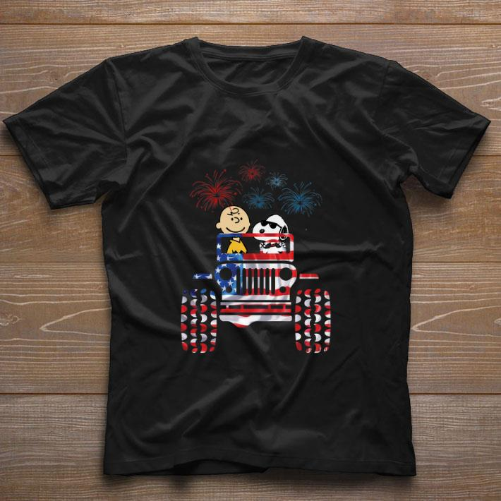 Original Jeep American flag Snoopy and Charlie Brown fireworks shirt