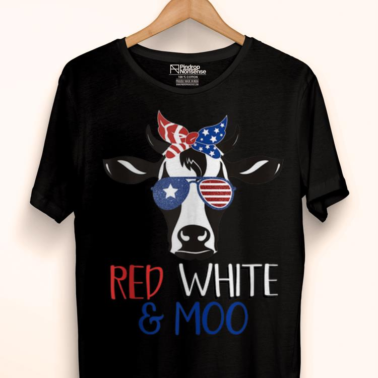 Original Patriotic Red White And Moo 4th of July Cow Sunglasses shirt