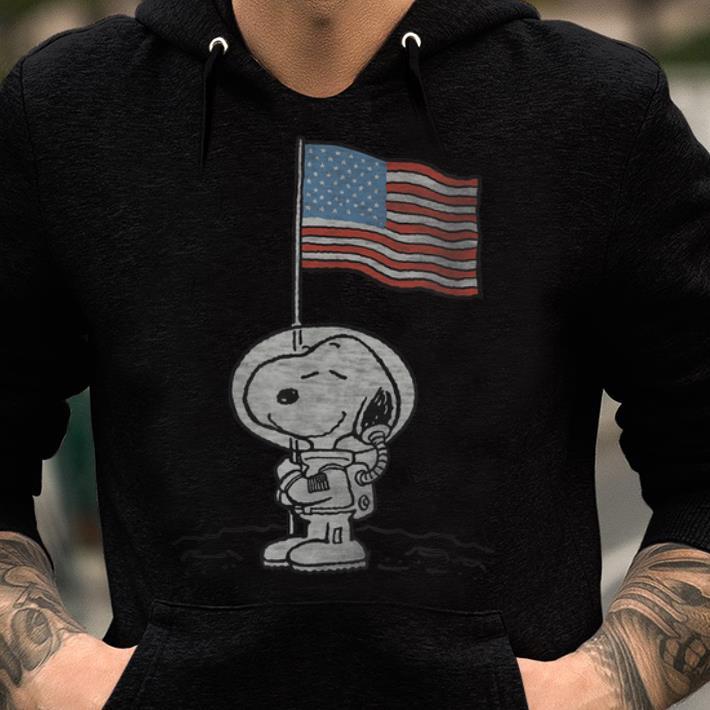 Original Peanuts Snoopy Astronaut American Flag 1st Step On The Moon shirt