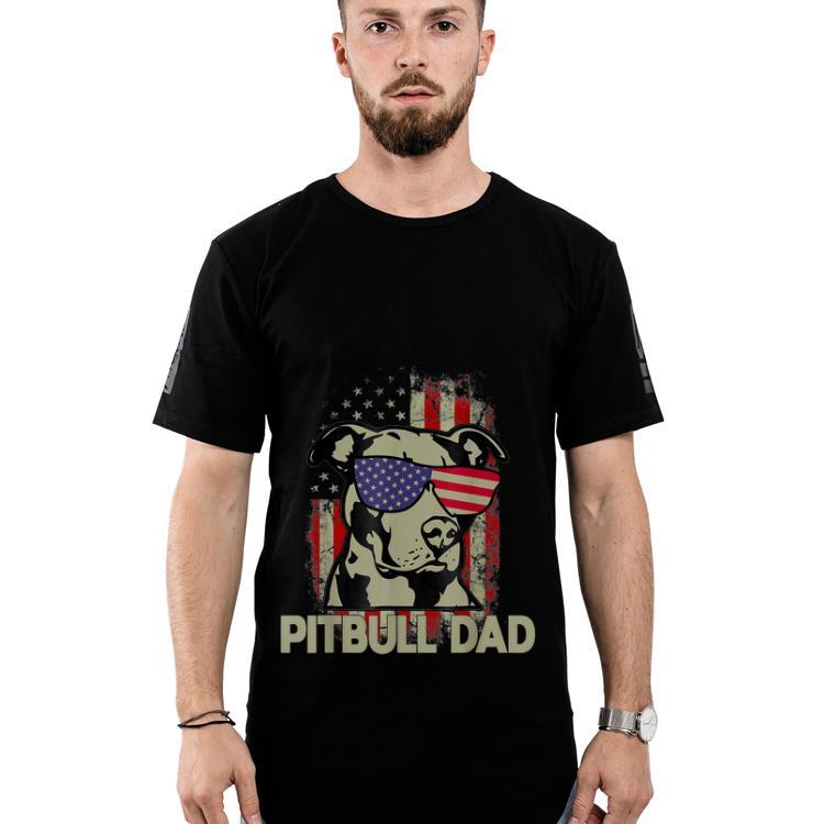 Original Pitbull Dad 4th Of July American Flag Gifts Shirt