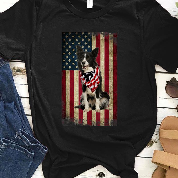 Premium Border Collie America Flag 4th Of July Independence Day Shirt
