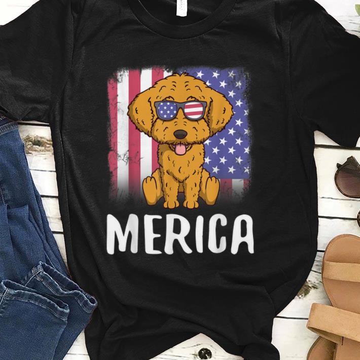 Premium Merica Goldendoodle Dog Us American Flag 4th Of July Shirt
