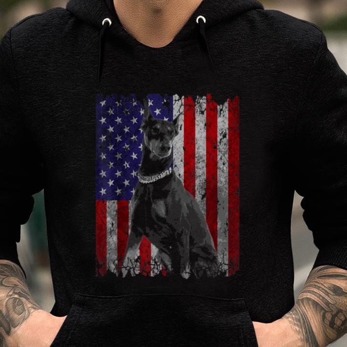 Premium Patriotic Doberman Pinscher American Flag Dog Gifts Shirt