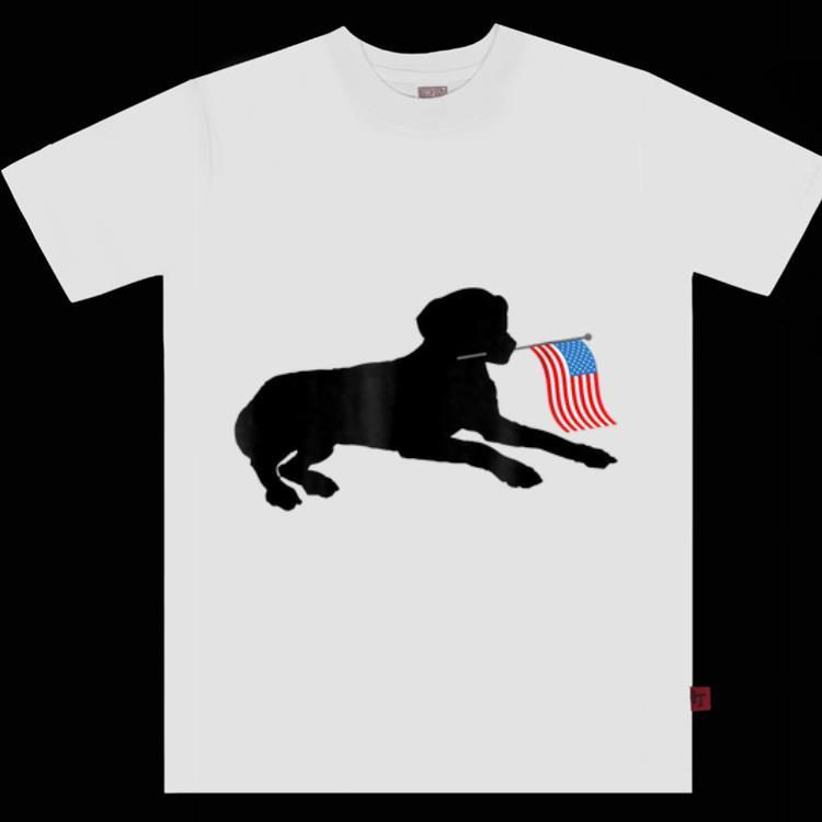 Top Black Lab Dog Holding July 4th Patriotic Usa Flag shirt