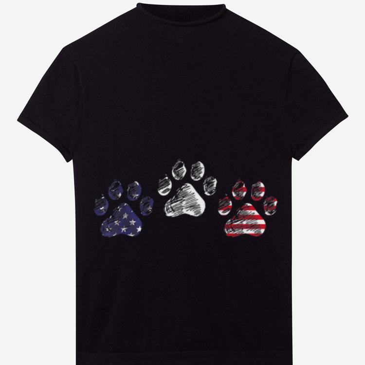 Top Red White Blue Dog Paws USA Flag 4th Of July Independence Day shirt
