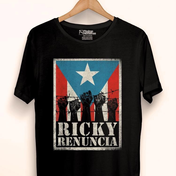 Hot Puerto Rico Ricky Renuncia Bandera Negra Boricua Flag shirt