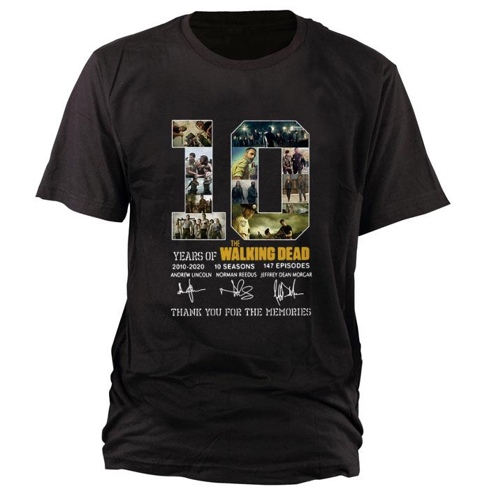 Nice 10 Years of The Walking Dead 2010-2020 signatures shirt