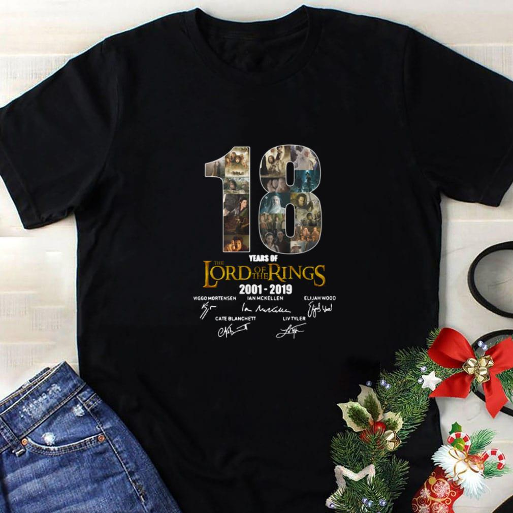 Nice 18 Years Of The Lord Of The Rings 2001-2019 signatures shirt