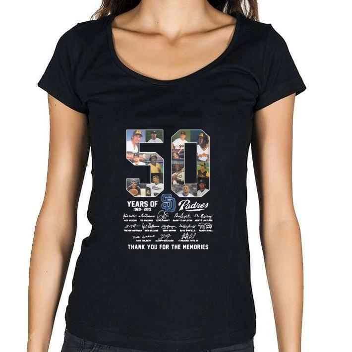 Nice 50 Years Of San Diego Padres 1969-2019 signatures shirt