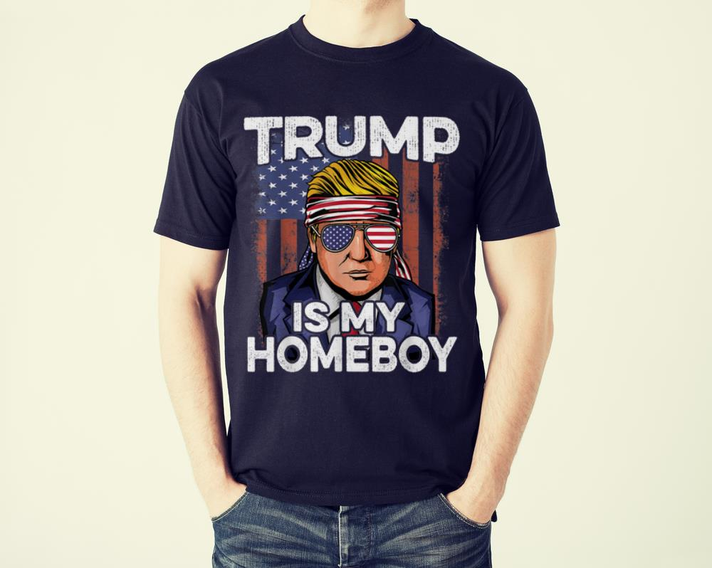 Premium Donald Trump Is My Homeboy Glasses Headband Usa Flag 4th Of July shirt