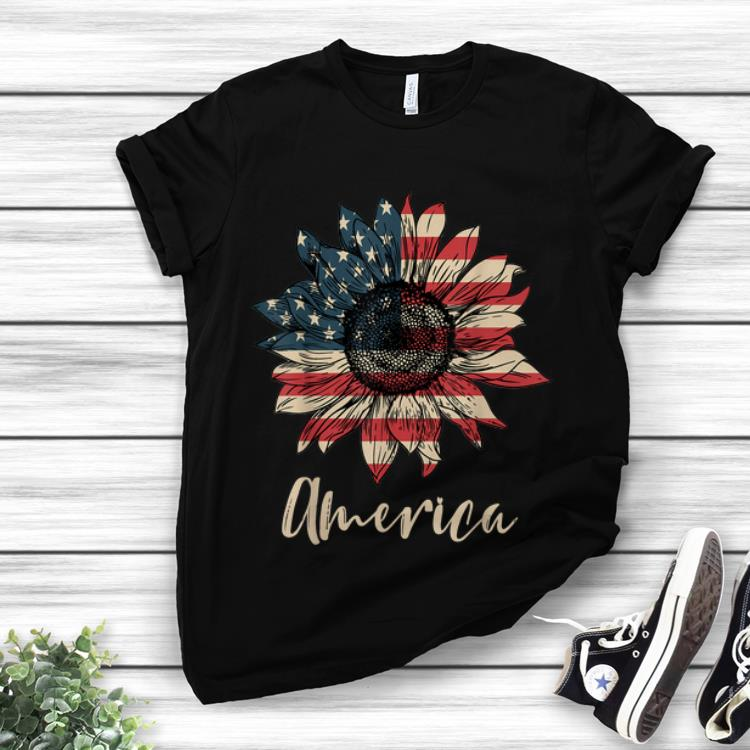 Premium Sunflower American Flag 4th Of July Independence Day shirt