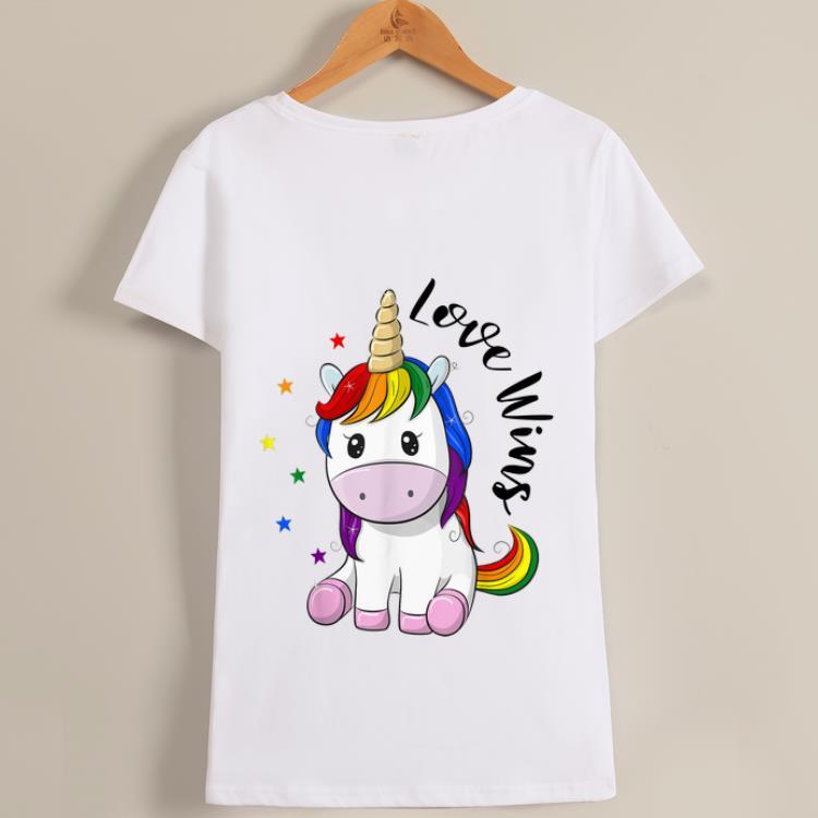 Top Love Wins LGBT Gay Lesbian Pride Month Rainbow Unicorn shirt