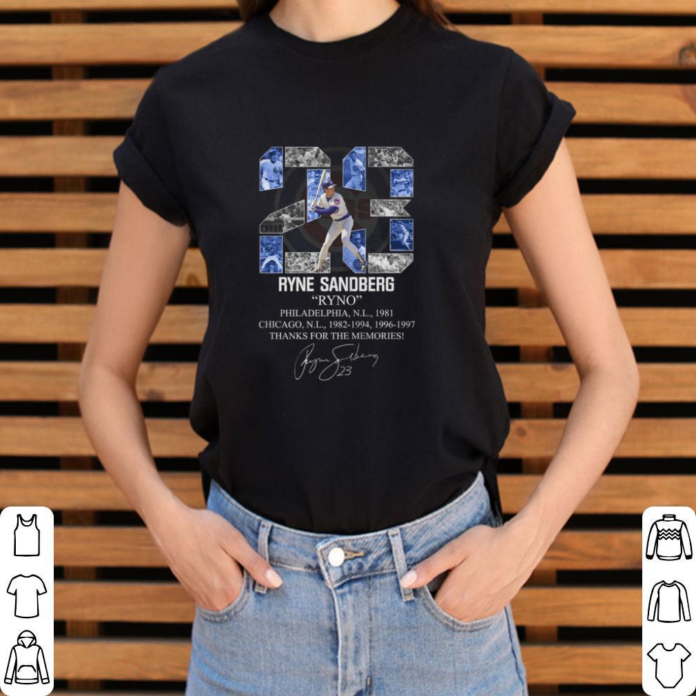23 Ryne Sandberg Ryno thanks for the memories signature shirt