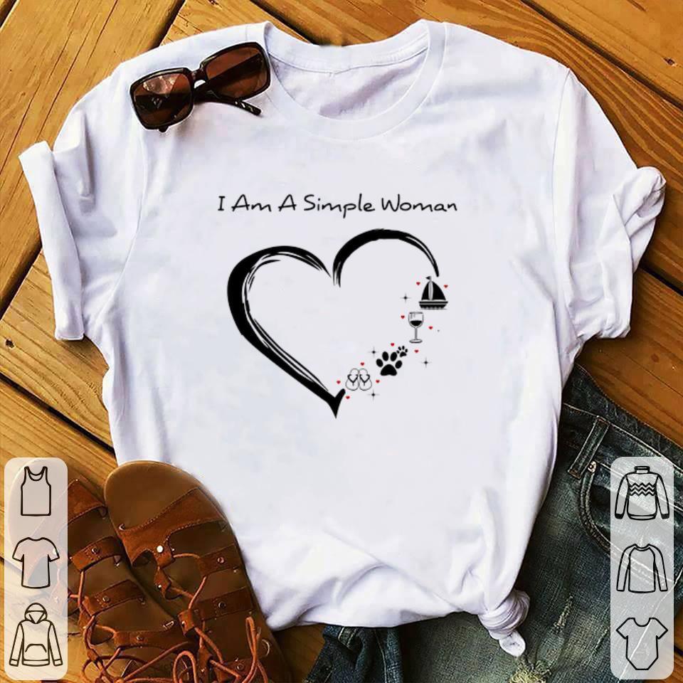 Awesome I am a simple woman i love flip flop paw dog wine glass sailing shirt