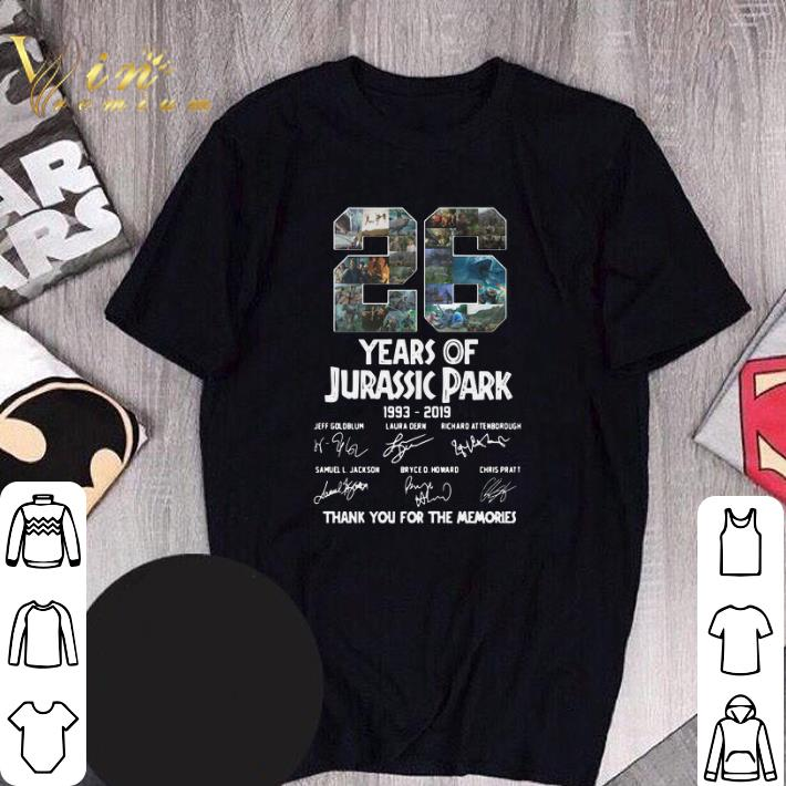 Funny 26 Years Of Jurassic Park 1993-2019 Thank You For The Memories shirt
