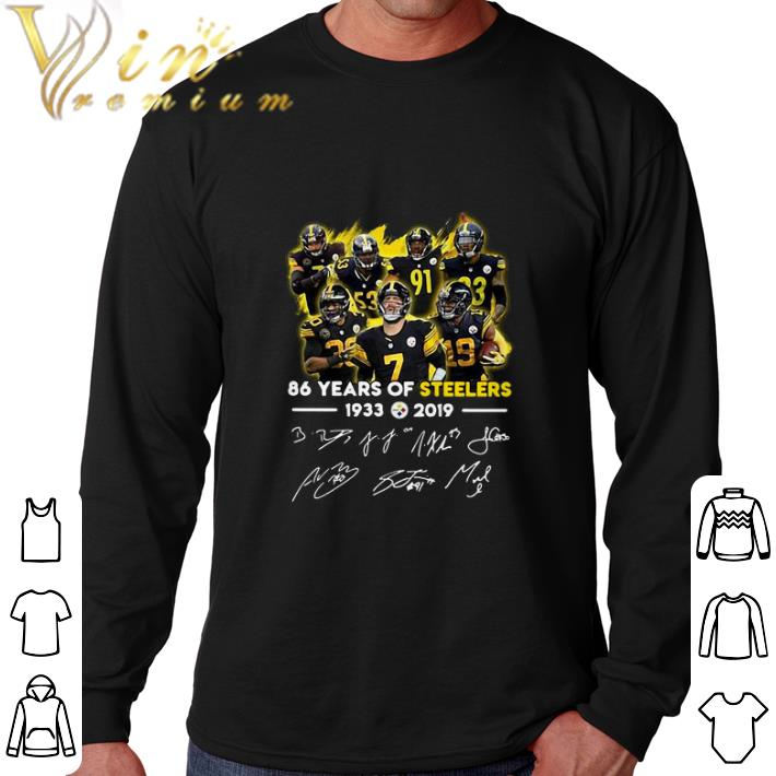 Nice 86 Years of Steelers 1933 2019 signatures shirt 4 - Nice 86 Years of Steelers 1933-2019 signatures shirt