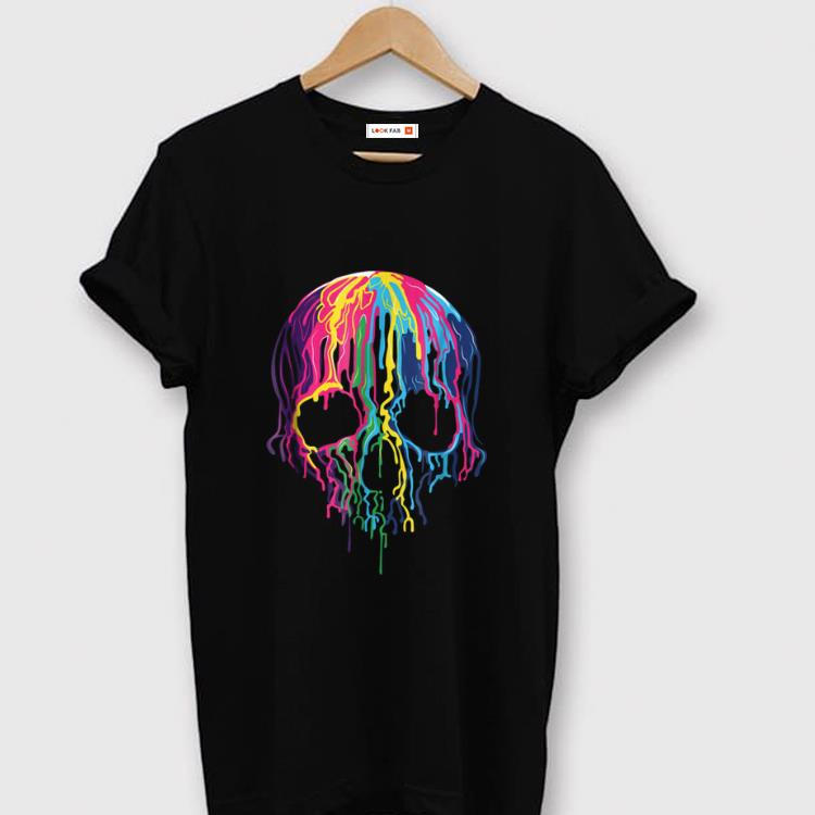 Nice Colorful Melting Skull Art Graphic Halloween shirt