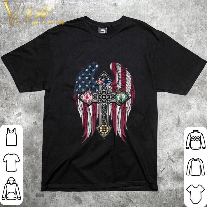 Nice Cross wings New England Patriots Boston Bruins Red Sox Celtics shirt