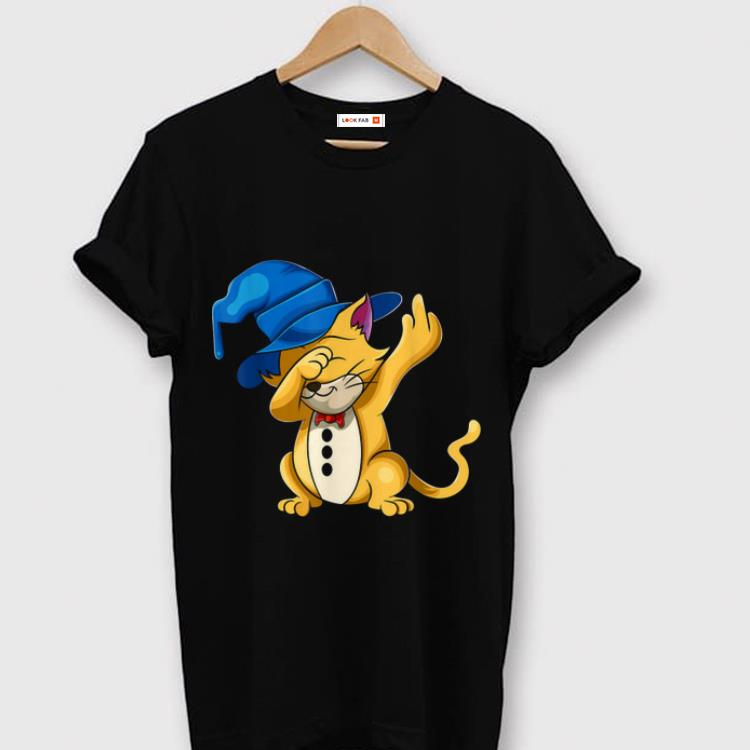 Official Cat Dabbing Witch Halloween Dab Cat Middle Fingers shirt