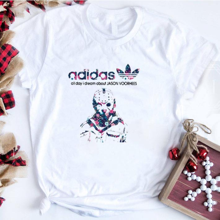 Original adidas all day I dream about Jason Voorhees shirt