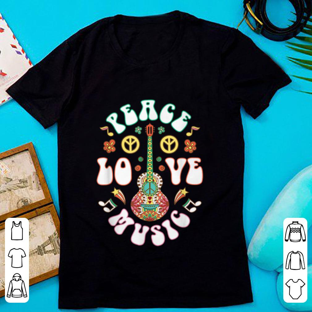 Premium Peace Love Music Guitar Hippies Retro shirt