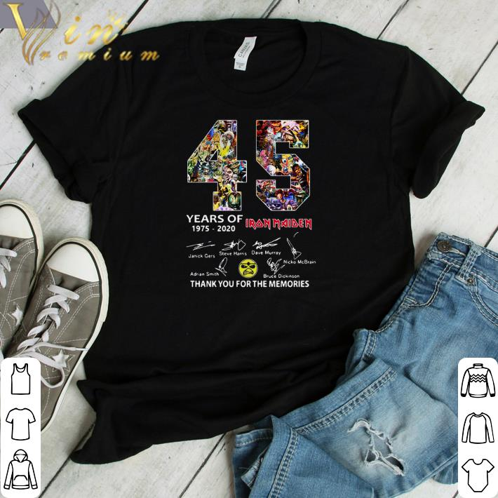 Pretty 45 years of Iron Maiden signatures thank you the memories shirt