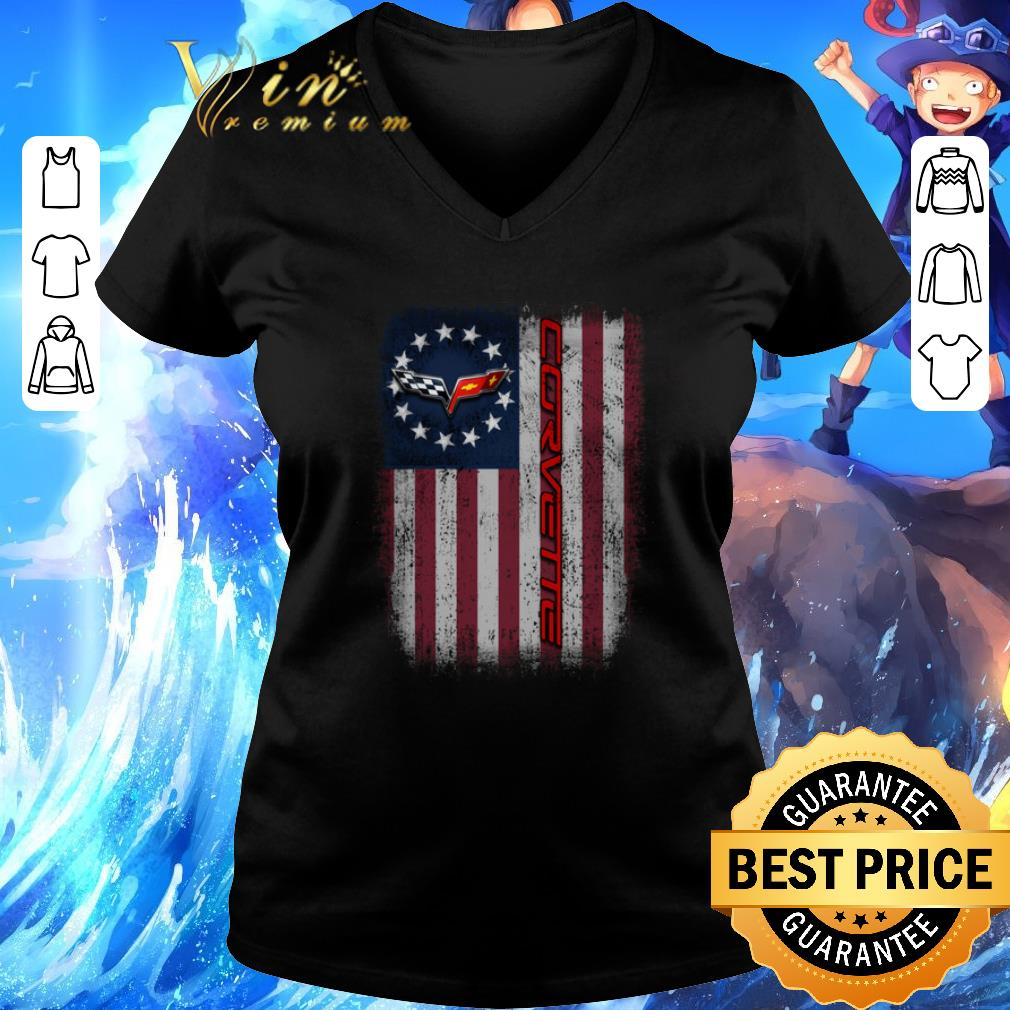 Pretty Chevrolet Corvette Logo Betsy Ross flag shirt