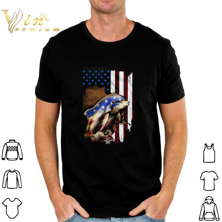 Pretty Dolphin American flag 4th of july shirt