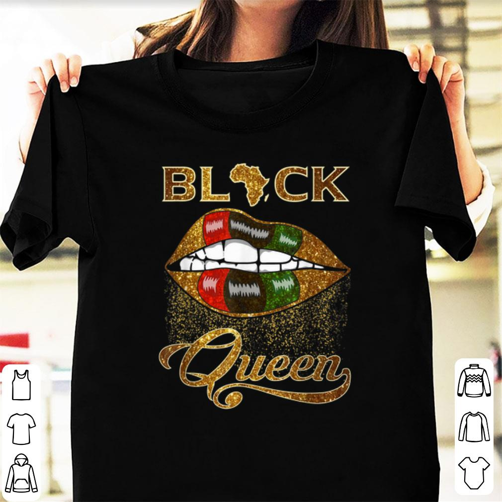 Top Black Queen Lips Red Green African Flag shirt