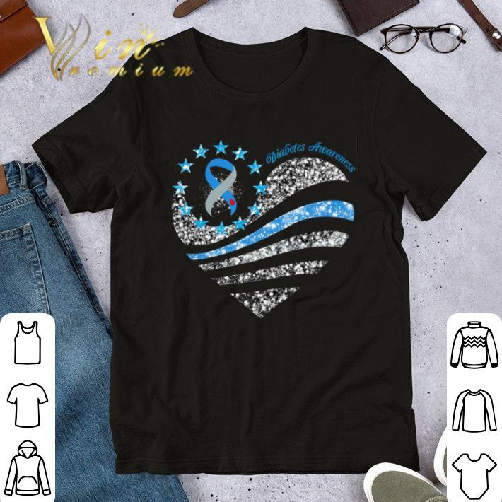 Top Glitter Diabetes Awareness Betsy Ross heart shirt