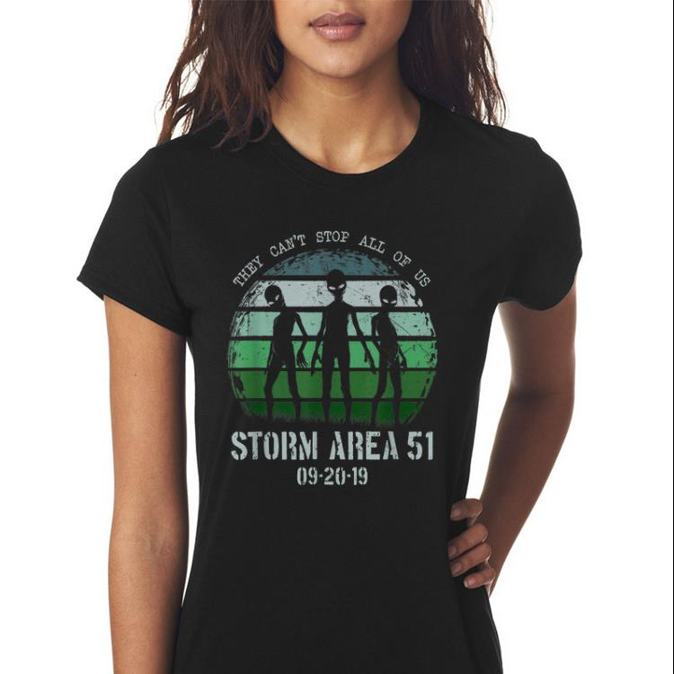 Top They Can't Stop All Of Us Storm Area 51 Alien guy tee