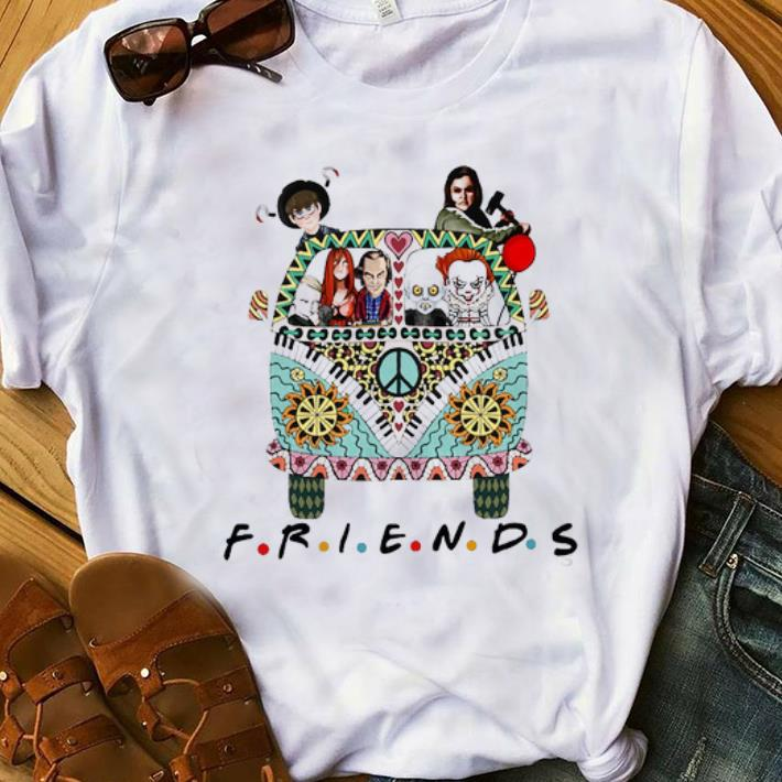 Awesome Halloween Friends Horror Movie Characters Hippie Bus shirt